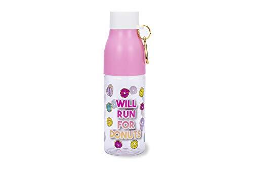 Tri-Coastal Desing - Bottiglia per Acqua di Plastica - Divertente e Colorata con Coperchio e Gancio - capacità 670 ml (Donuts)