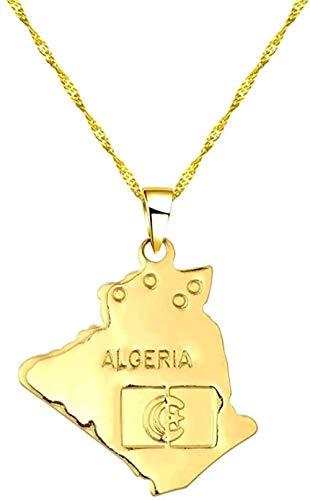 CAISHENY Collar Estrella Argelia Mapa Colgante y Collar Gargantilla de Cadena de Moda de Oro Mujeres Hombres Mapa del Mundo Accesorios de Ropa