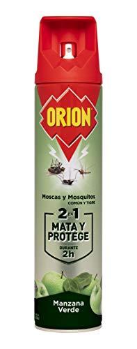 Orion - Insecticida en Aerosol 2en1 Mata y Protege contra Moscas y Mosquitos, Aroma Manzana - 600 ml