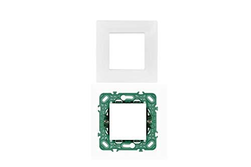 LineteckLED -Serie Completa di Placche per Interruttori Prese- Kit Placca 2 Posti 2M Compatibile Vimar Serie Plana + Supporto 2 Posti Compatibile Vimar (BIANCO)