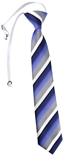 TigerTie Security Sicherheits Krawatte in blau dunkelblau grau weiss gestreift - vorgebunden mit Gummizug