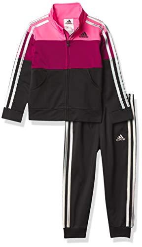 adidas Girls' Tricot Jacket & Jogger Active Clothing Set, Semi Solar Pink, 6