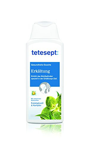 Tetesept Erkältung Duschgel, Bringt Spürbare Erleichterung Der Erkältungssymptome, Befreit Die Atemwege Mit Eukalyptusöl & Kampfer, Intensiver Duft Durch Natürliche Wirkstoffe, 250ml