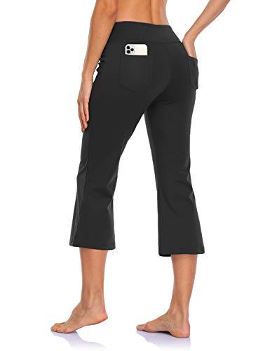 MOVE BEYOND Pantalones Piratas de Yoga Bootcut para Mujer con 4 Bolsillos Pantalón Corte de Bota de Cintura Alta para Vestir Pilates Fitness Entrenamiento, Capris, Nergo, L