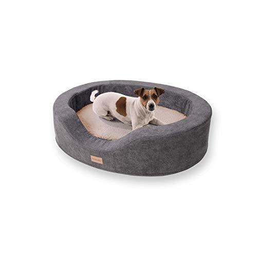 brunolie Lotte - ovaler Hundekorb, waschbar, orthopädisch und rutschfest, kuscheliges Hundebett mit atmungsaktivem Memory-Schaum, Größe M 80 x 60 cm, Beige