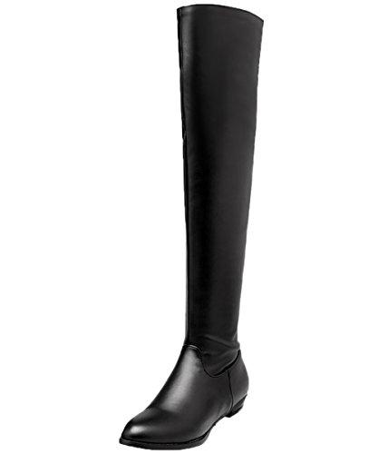 BIGTREE Overknee Stiefel Damen Winter Elegant Bequem Flach Langschaft Stiefel Schwarz 42 EU