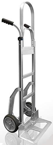 Heavy Duty Aluminum Hand Truck with Stair Climber | Ergonomic Double-Grip Handles & 8-Inch Hi Tech Rubber Wheels, 500lb Capacity | 52-Inch Tall Hand...