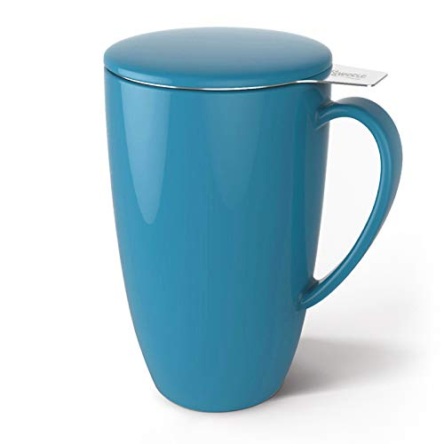 Sweese 201.107 Porcelain Tea Mug with Infuser and Lid, 15 OZ, Steel Blue