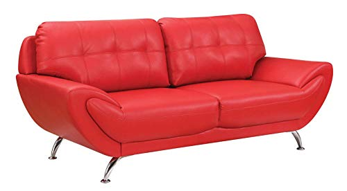 Benjara Stylish Upholstered Leather Sofa with Chrome Legs, Red
