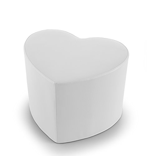 EXTOITALY Coeur Blanc Pouf en Cuir synthétique Adapté à séance mis.50 x 41 h.41 cm. Déhoussable Disponible en 10 Couleurs intérieur en polyuréthaneNome articolo (Titolo)