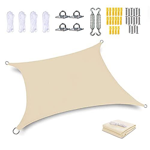 Rectangular Toldo Vela de Sombra Triangular Toldo Vela Parasol Protección Rayos UV Impermeable para Patio Exteriores Jardín, con Cuerda Libre y Kit de Fijación,Beige,2×4m