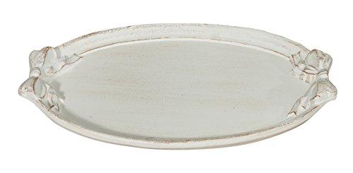 Biscottini Vassoio ovale in legno finitura bianco anticato L37xPR26xH3,5 cm Made in Italy