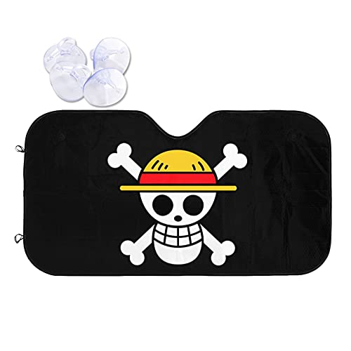 DELICAB One Piece Anime Car Front Windshield Sun Shade,Blocks Uv Rays Sun Visor Protector Cover Universal to Keep Your Vehicle Cool and Damage Free for Car SUV Truck
