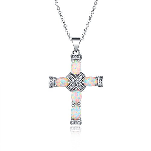 Barzel Rose Gold & White Gold Plated Fire Created Opal Cross Pendant (White Gold)