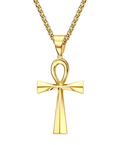 VNOX Colgante Egipcio de la Cruz de Ankh del Acero Inoxidable Fornido de los Hombres con la Cadena de Rolo de los 60cm,Oro