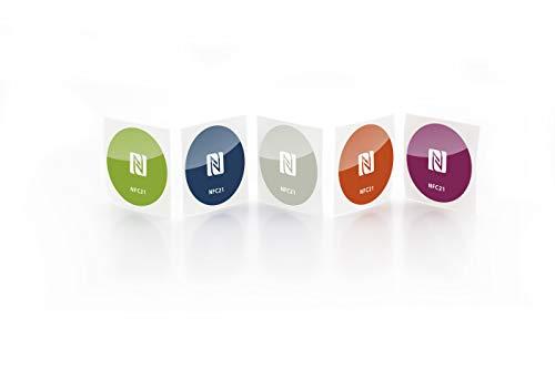 NFC Tag Sticker-Aufkleber 30 mm, 180 Byte, kompatibel mit allen nfc-fähigen Smartphones, 5 Stück bedruckt, optimal für Geräte-/ Profilsteuerung (Wlan, Bluetooth, SMS, Telefonanruf per NFC), NXP NFC Chip