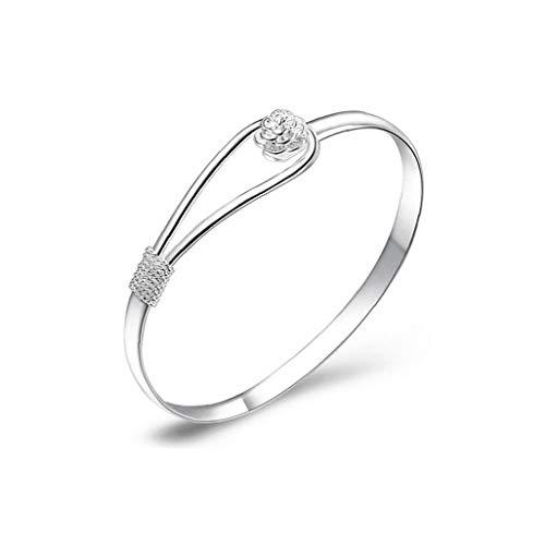 Gioielli Rosa Fiore Donne Bracciale Donne placcato 925 braccialetti catena in argento d'argento di modo del braccialetto del polsino solido Bracciale