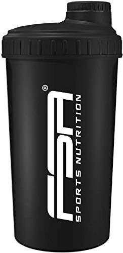 Shaker 700 ml, Preparador de batidos de proteínas y BCAA, libres de BPA y a prueba de vertidos, de la marca de deporte profesional FSA Nutrition - Negro