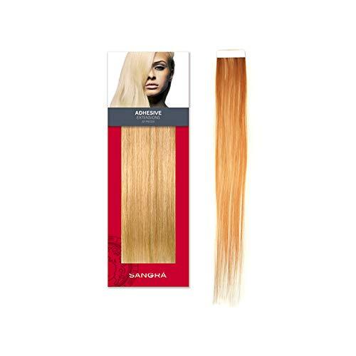 SANGRA HAIR Extensiones adhesivas de cabello natural – 20 piezas (10 sandwich) 50 cm de largo 55 gramos - Pelo 100% natural remy – Extrafinas (Rubio extraclaro con cabellos dorados (140))