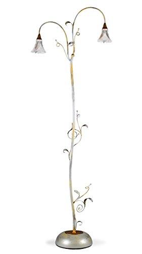 Helios Leuchten 513416 kleine Florentiner Stehleuchte Stehlampe antik-silber | florale Lampe Leuchte | Bodenlampe Leselampe Landhausstil | echtes Bleikristall