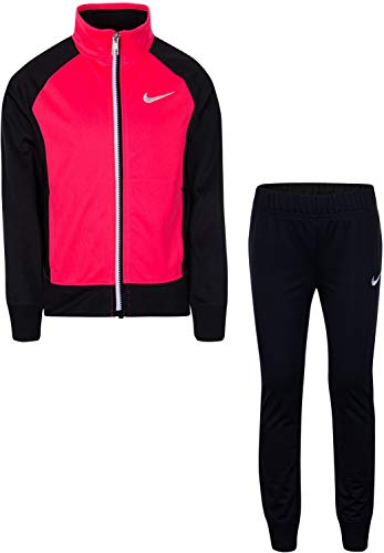Nike Little Girls` Therma-Fit Full Zip Hoodie & Jogging Pants 2 Piece Set (Black(26E166-023)/Pink/White, 18 Months)