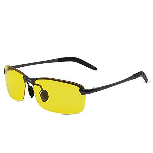 AMZTM Nacht Vision Blendschutz Fahrbrille Halbrand Polarisiert Nachtfahrbrille Metall Sonnenbrille Damen und Herren