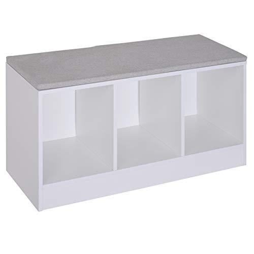 HOMCOM Schuhbank mit Sitzkissen Schuhschrank Schuhregal Lowboard Garderobe Flur Diele Holz Weiß 89,6 x 35,6 x 47 cm