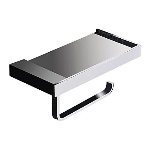 GDSMTG Tenedor de Papel higiénico con Estante del teléfono Cromo Pulido, Accesorios de baño Dispensador de Rollo de Tejido Montado en la Pared Multifunción (Color : Silver)