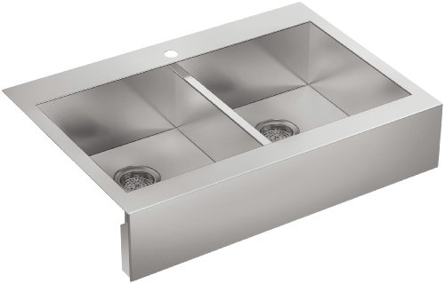 Stainless Steel Kitchen Countertop With Farmhouse Sink