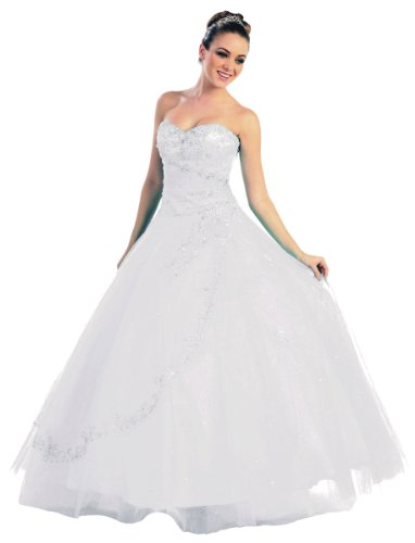FairOnly NRM28 Strapless Formal Dress Prom Gown (L, White)