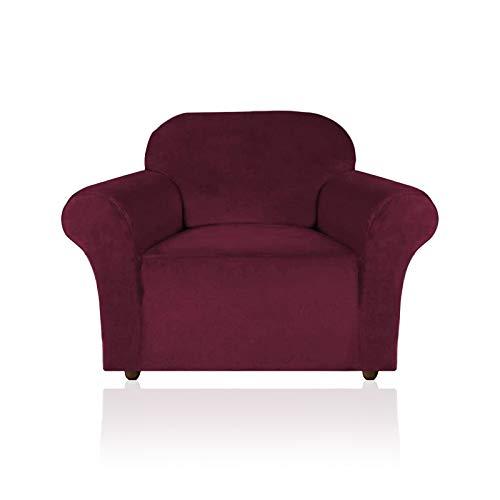 YuuHeeER 1 funda de sofá de terciopelo elástico, hecha de terciopelo grueso, cómodo, rico, 3 cojines, tinto, vino y rojo.