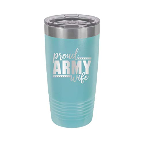 Proud Army Wife - Engraved Tumbler Wine Mug Cup Unique Funny Birthday Gift Graduation Gifts for Men or Women Veteran Army Navy Vet America USA (20 Ring, Baby Blue)