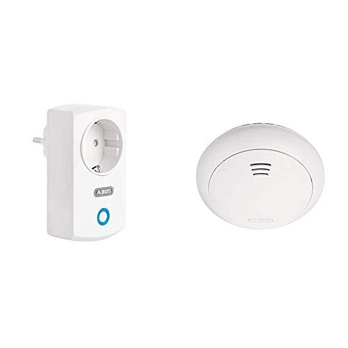 ABUS Funk-Steckdose Smartvest Erweiterung der Funk-Alarmanlage   WLAN   Smarte Lichtsteuerung   weiß & Funk-Rauchmelder Smartvest Erweiterung der Funk-Alarmanlage   inkl. Hitze Detektion   weiß