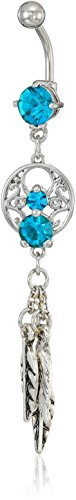 Body Candy Stainless Steel Enchanting Blue Green Dangle Dreamcatcher Belly Ring
