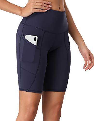 Oalka Women's Short Yoga Side Pockets High Waist Workout Running Shorts Navy Blue L