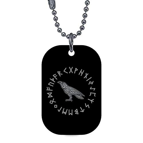 onepicebest Pet ID Tags, Personalized Dog Tags and Cat Tags, Odin Raven Crow Viking Mythology Runes Runic Pet Tags - Custom Double Sides Rectangle Puppy Tag - Stainless Steel