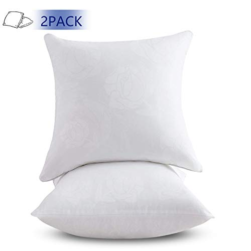 Emolli 18 x 18 Pillow Inserts Set of 2, Throw Pillow Inserts Premium Stuffer Down Alternative,Super Soft Microfiber Filled Decorative Pillow Cushion