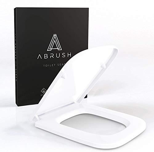 Abrush® Toilettendeckel mit Absenkautomatik | WC Sitz eckig aus Duroplast | WC Deckel & Klobrille in weiß | antibakterieller Toilettensitz passend für Keramag Renova Nr.1 Plan