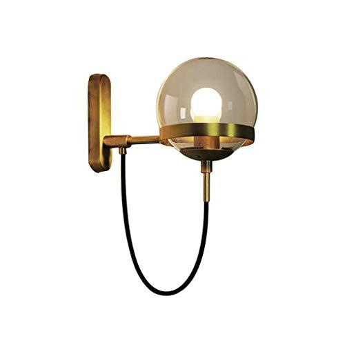 Wandlamp Nordic Retro Creatieve bol van glas E27 licht Source woonkamer decoratie wandlamp bedlampje lamp slaapkamer houder 28 * 22cm messing