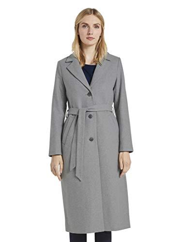 TOM TAILOR Damen Jacken Langer Mantel mit Bindegürtel Smooth Grey Melange,XXXL,11936,2500
