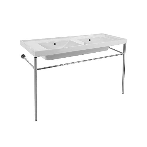 Scarabeo 3006-CON-No Hole ML Double Basin Ceramic Console Sink and Polished Chrome Stand, White