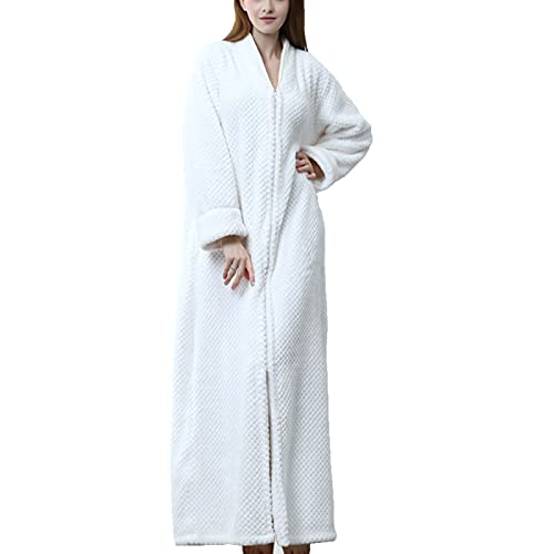 GAOHONGMEI Camisón para mujer con cremallera y camisón de franela para mujer, bata de camisón para pareja, engrosamiento de bata de baño, toalla de pijama, color blanco-XL