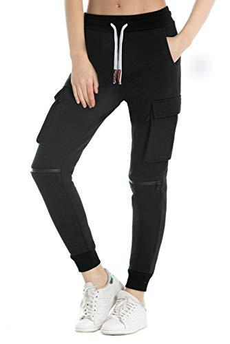 Extreme Pop Damen Jogginghose aus Reiner Baumwolle Slim Fit Jogger French Terry Knit Cargo Pants Farben Schwarz Grau Blau (XL, Black)