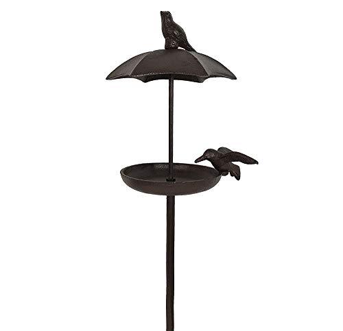 zeitzone Vogeltränke mit Dach auf Stab Vogelbad Futterschale Wasserschale Gusseisen 112cm