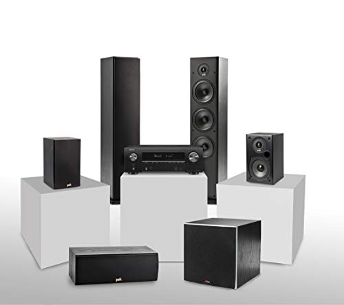 Denon AVR-X1600H 5.1 Heimkinosystem mit Polk T-Serie Lautsprechern und PSW10E Aktivsubwoofer, AV Receiver mit HEOS Built-in, WLAN, Bluetooth, AirPlay 2, Alexa kompatibel