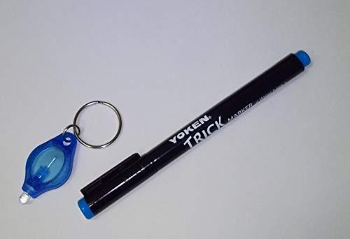 【中字/青】ブラックライトペン トリックマーカー1本 ※海外製LED使用ブラックライトキーホルダー付(375nm) 他にはない発光輝度のシークレットペン 暗証番号管理 商品管理