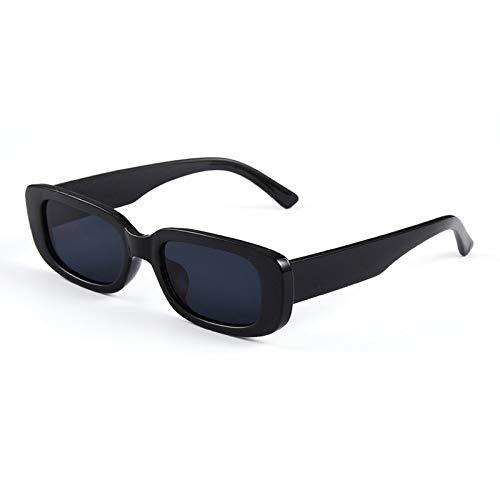 Gafas de sol cuadradas de viaje, rectangulares, pequeñas, para hombre y mujer, estilo vintage, retro, color de lentes de color: negro y negro.
