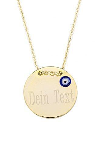 Remi Bijou Halskette MIT Gravur Gravurplatte Münze Scheibe Nazar Boncuk Blaues Auge (Gold)