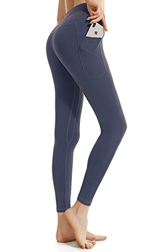 FETY High Waist Yoga Pants with Pockets, Tummy Control, Workout Pants for Women 4 Way Stretch Yoga Leggings with Pockets Gray Blue