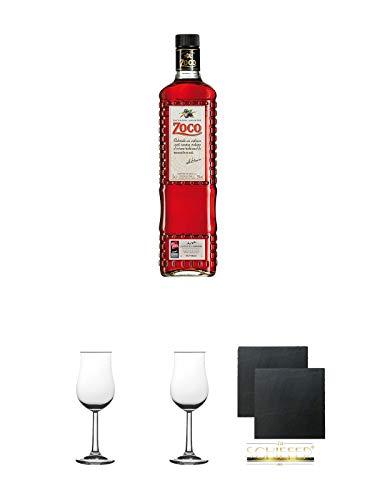 Pacharan Zoco Schlehenlikör 1,0 Liter + 2 Bugatti Nosing Gläser mit Eichstrich 2cl und 4cl + 2 Schiefer Glasuntersetzer eckig ca. 9,5 cm Ø